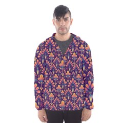 Abstract Background Floral Pattern Hooded Wind Breaker (Men)