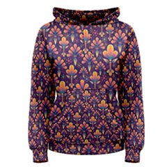 Abstract Background Floral Pattern Women s Pullover Hoodie