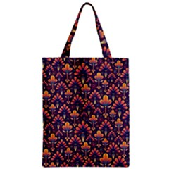 Abstract Background Floral Pattern Zipper Classic Tote Bag
