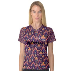 Abstract Background Floral Pattern Women s V-Neck Sport Mesh Tee