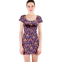 Abstract Background Floral Pattern Short Sleeve Bodycon Dress