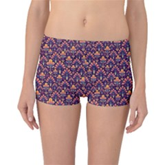 Abstract Background Floral Pattern Boyleg Bikini Bottoms