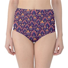 Abstract Background Floral Pattern High-Waist Bikini Bottoms