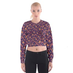 Abstract Background Floral Pattern Women s Cropped Sweatshirt