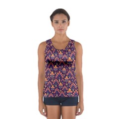 Abstract Background Floral Pattern Women s Sport Tank Top