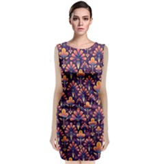 Abstract Background Floral Pattern Classic Sleeveless Midi Dress