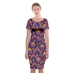 Abstract Background Floral Pattern Classic Short Sleeve Midi Dress