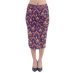 Abstract Background Floral Pattern Midi Pencil Skirt