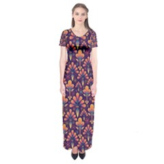 Abstract Background Floral Pattern Short Sleeve Maxi Dress