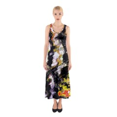 Canvas Acrylic Digital Design Sleeveless Maxi Dress