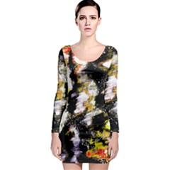 Canvas Acrylic Digital Design Long Sleeve Bodycon Dress