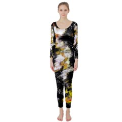 Canvas Acrylic Digital Design Long Sleeve Catsuit