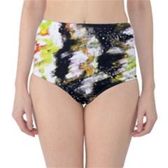 Canvas Acrylic Digital Design High-Waist Bikini Bottoms