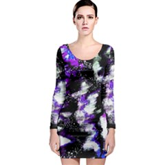 Canvas Acrylic Digital Design Long Sleeve Bodycon Dress
