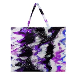 Canvas Acrylic Digital Design Zipper Large Tote Bag