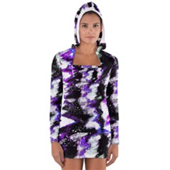 Canvas Acrylic Digital Design Women s Long Sleeve Hooded T Shirt