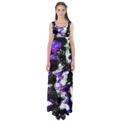 Canvas Acrylic Digital Design Empire Waist Maxi Dress