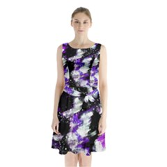 Canvas Acrylic Digital Design Sleeveless Chiffon Waist Tie Dress