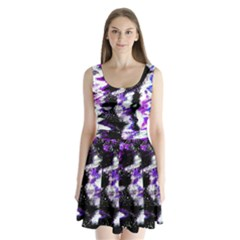 Canvas Acrylic Digital Design Split Back Mini Dress