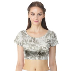 Wall Rock Pattern Structure Dirty Short Sleeve Crop Top (Tight Fit)