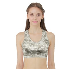 Wall Rock Pattern Structure Dirty Sports Bra With Border