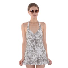 Wall Rock Pattern Structure Dirty Halter Swimsuit Dress