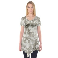 Wall Rock Pattern Structure Dirty Short Sleeve Tunic