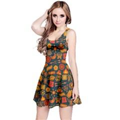 Pattern Background Ethnic Tribal Reversible Sleeveless Dress