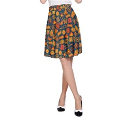Pattern Background Ethnic Tribal A-Line Skirt