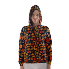 Pattern Background Ethnic Tribal Hooded Wind Breaker (women)