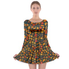Pattern Background Ethnic Tribal Long Sleeve Skater Dress
