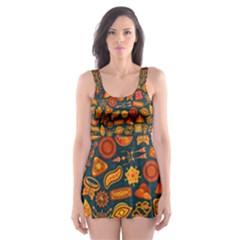 Pattern Background Ethnic Tribal Skater Dress Swimsuit
