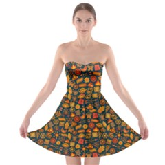 Pattern Background Ethnic Tribal Strapless Bra Top Dress