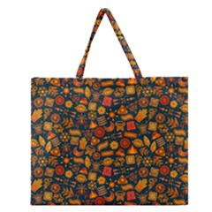 Pattern Background Ethnic Tribal Zipper Large Tote Bag