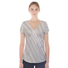 Sand Pattern Wave Texture Short Sleeve Front Detail Top