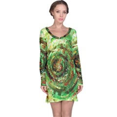 Canvas Acrylic Design Color Long Sleeve Nightdress