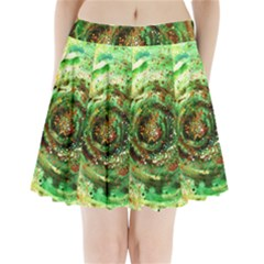 Canvas Acrylic Design Color Pleated Mini Skirt