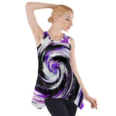 Canvas Acrylic Digital Design Side Drop Tank Tunic