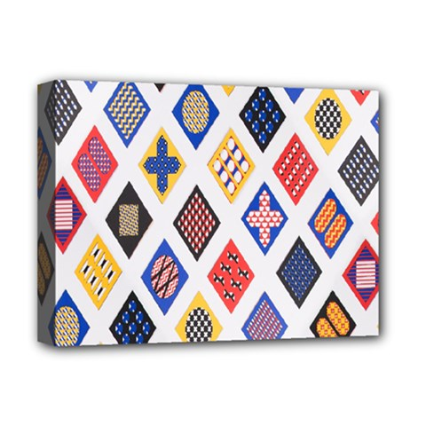 Plaid Triangle Sign Color Rainbow Deluxe Canvas 16  x 12