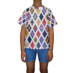 Plaid Triangle Sign Color Rainbow Kids  Short Sleeve Swimwear