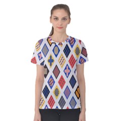 Plaid Triangle Sign Color Rainbow Women s Cotton Tee