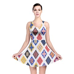 Plaid Triangle Sign Color Rainbow Reversible Skater Dress