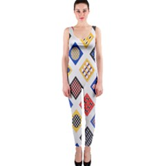Plaid Triangle Sign Color Rainbow OnePiece Catsuit