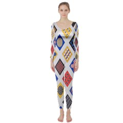 Plaid Triangle Sign Color Rainbow Long Sleeve Catsuit