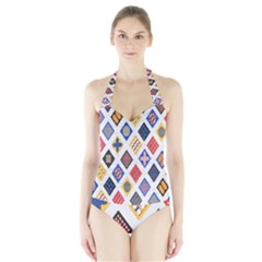 Plaid Triangle Sign Color Rainbow Halter Swimsuit