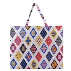 Plaid Triangle Sign Color Rainbow Zipper Large Tote Bag