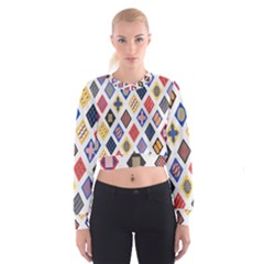 Plaid Triangle Sign Color Rainbow Women s Cropped Sweatshirt