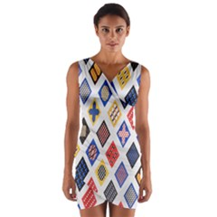 Plaid Triangle Sign Color Rainbow Wrap Front Bodycon Dress