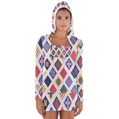 Plaid Triangle Sign Color Rainbow Women s Long Sleeve Hooded T-shirt