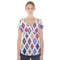 Plaid Triangle Sign Color Rainbow Short Sleeve Front Detail Top